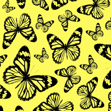 Yellow Butterflies - Large fabric by thinlinetextiles on Spoonflower - custom fabric