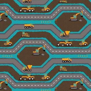 Construction: Busy Roadbuilding - Blue