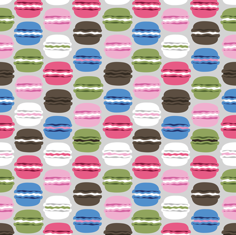 Grey and Pink Macaron small fabric by lburleighdesigns on Spoonflower - custom fabric