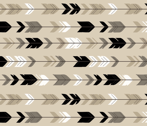 Arrow Feather Midnight Woodland 90 degree fabric by sugarpinedesign on Spoonflower - custom fabric