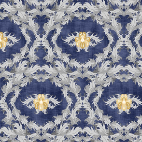 Ornate Floral Navy