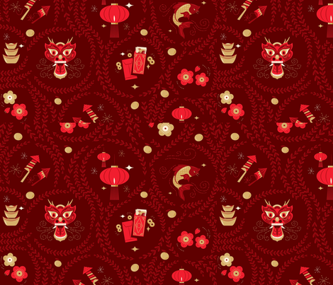 Paper Lanterns and Dragons fabric by phxazkyote on Spoonflower - custom fabric
