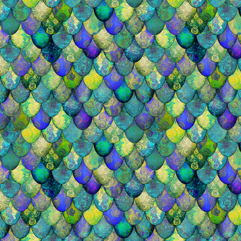 SMALL dragon scales, after Faberge by Su_G fabric by su_g on Spoonflower - custom fabric