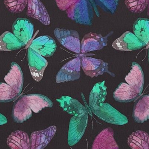 Rustic Butterfly - Charcoal, Purple, Jade