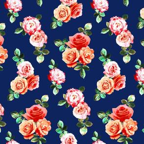 Vintage Rose Floral on navy blue - small