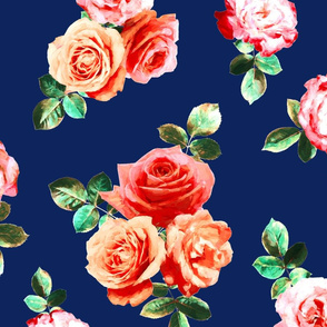 Vintage Rose Floral on navy blue - large