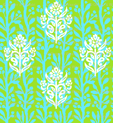 FINE VINES - LIME/TURQUOISE