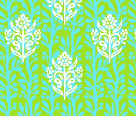 FINE VINES - LIME/TURQUOISE fabric by ginger&wasabi on Spoonflower - custom fabric