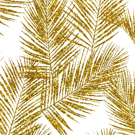gold glitter palm leaves - white, small.     silhuettes faux gold imitation tropical forest white background hot summer palm plant leaves shimmering metal effect texture fabric wallpaper giftwrap fabric by mirabelleprint on Spoonflower - custom fabric