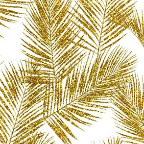 gold glitter palm leaves - white, small.     silhuettes faux gold imitation tropical forest white background hot summer palm plant leaves shimmering metal effect texture fabric wallpaper giftwrap