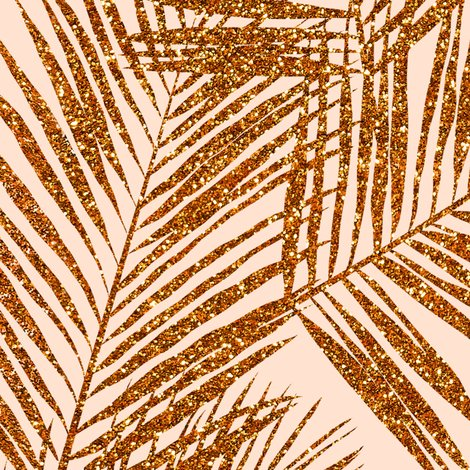 Copper Glitter Palm Leaves Peach Extra Large