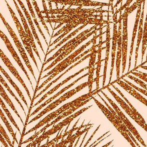 copper glitter palm leaves - peach, extra large