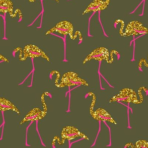gold glitter flamingos with pink legs - light olive