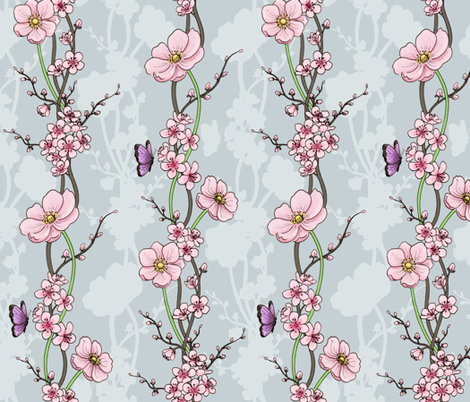 Japanese Garden - grey fabric by hazelfishercreations on Spoonflower - custom fabric