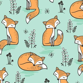 Dreamy Fox in Bay Mint Green