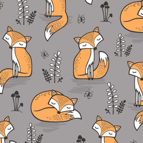 Dreamy Fox in Opal Gray  fabric by caja_design on Spoonflower - custom fabric