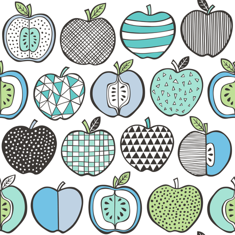 Apples in Blue Mint Green on White fabric by caja_design on Spoonflower - custom fabric