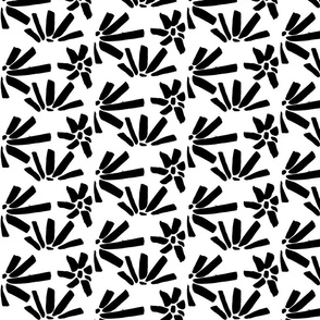 Black and White Abstract Floral