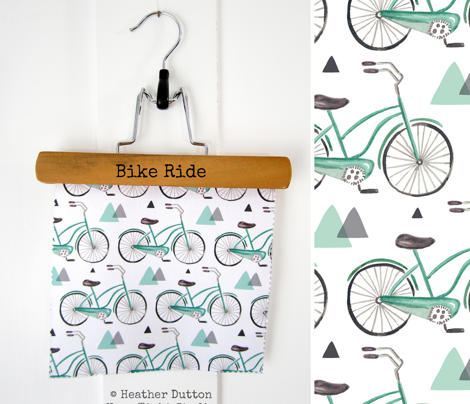 Bike Ride - Watercolor Aqua & Grey