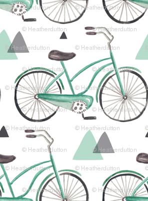 Bike Ride - Watercolor Aqua & Grey