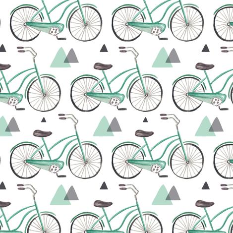 Bike Ride - Watercolor Aqua & Grey fabric by heatherdutton on Spoonflower - custom fabric