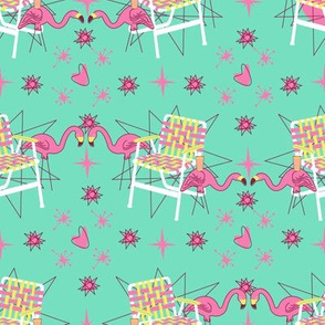 Lawn Chairs and Flamingos- Mint