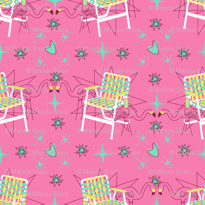 Lawn Chairs and Flamingos- Pink