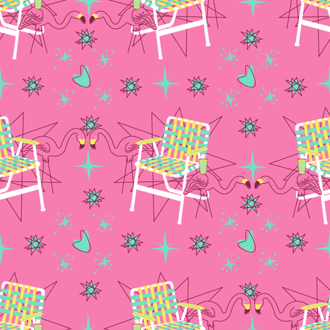 Lawn Chairs and Flamingos- Pink fabric by halloweenhomemaker on Spoonflower - custom fabric