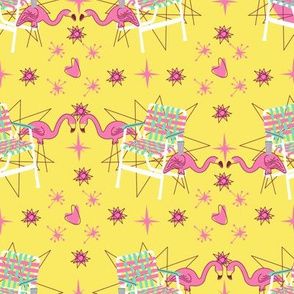 Lawn Chairs and Flamingos- Yellow
