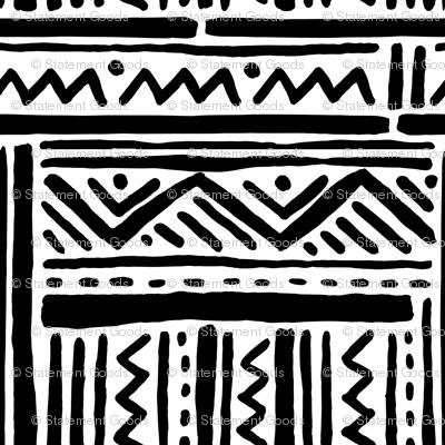 Tribal Inspired Black and White Lines and Zig Zags