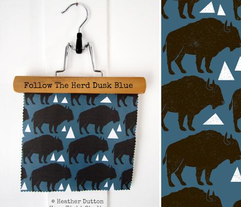 Follow The Herd - Buffalo Dusk Blue