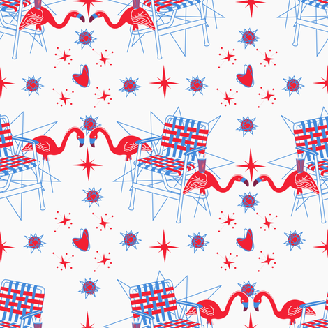 Patriotic Flamingos-White fabric by halloweenhomemaker on Spoonflower - custom fabric