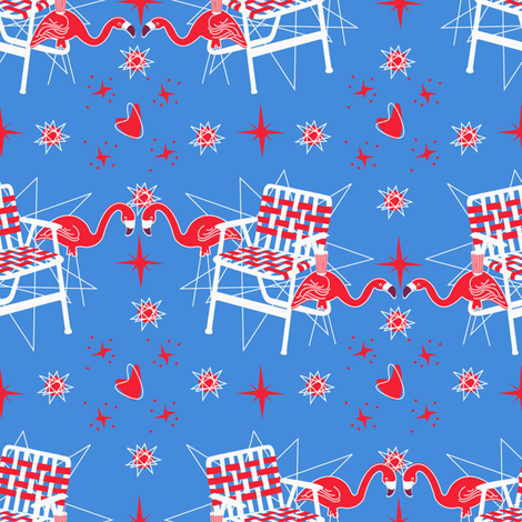 Patriotic Flamingos-Blue fabric by halloweenhomemaker on Spoonflower - custom fabric