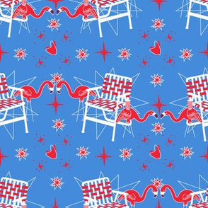 Patriotic Flamingos-Blue