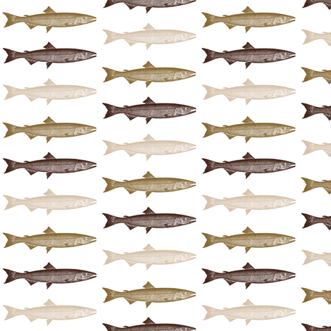 Brown Tan Trout Fish fabric by hudsondesigncompany on Spoonflower - custom fabric