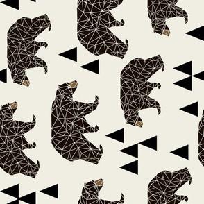 geo bear // cream geometric trendy camping boys nursery bear