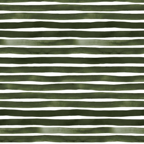 Forest Green Watercolor Stripes by Friztin
