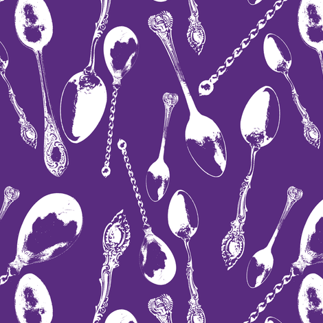 Antique Spoons on Windsor Purple // Large  fabric by thinlinetextiles on Spoonflower - custom fabric