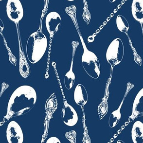 Antique Spoons on Navy Blue // Large