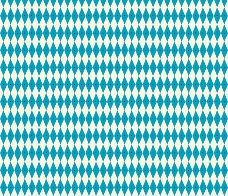 1950s turquoise Harlequin print & small dots fabric by studio_jb on Spoonflower - custom fabric