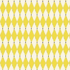 1950s yellow Harlequin print & small dots