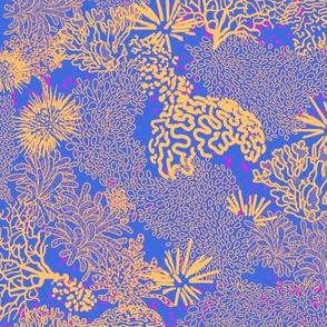 Coral Garden Blue Gold