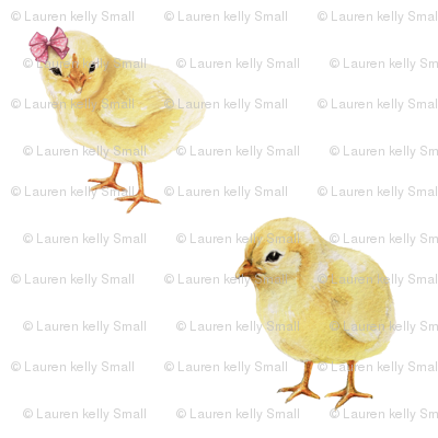 Chicks in Pink Bows on White, Mini