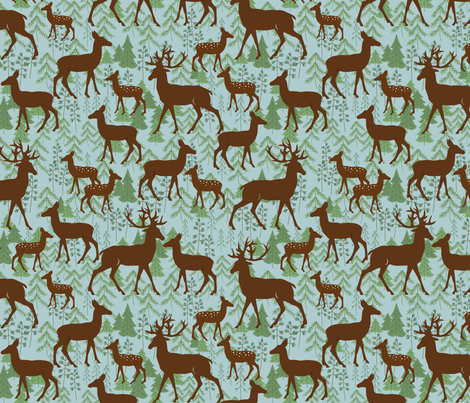 Deer In The Woods Blue fabric by bags29 on Spoonflower - custom fabric