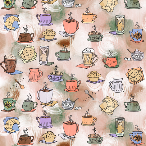 Coffee Time Small Print fabric by lyddiedoodles on Spoonflower - custom fabric