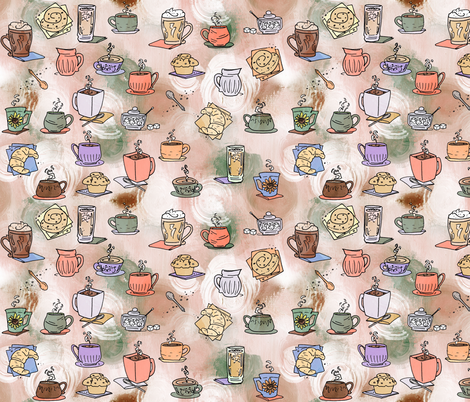 Coffee Time Large Print fabric by lyddiedoodles on Spoonflower - custom fabric