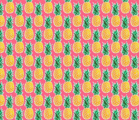 Tropical Geometric Pineapple - Pink fabric by heatherhightdesign on Spoonflower - custom fabric