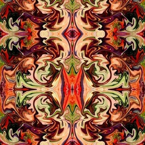 BNS7 - Marbled Mystery Tapestry in Rust - Brown - Orange - Green