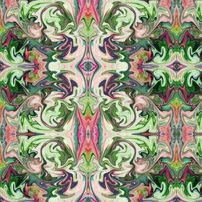 BNS4 - Marbled Mystery Tapestry in Greens - Mauve - Pastel Peach - Maroon