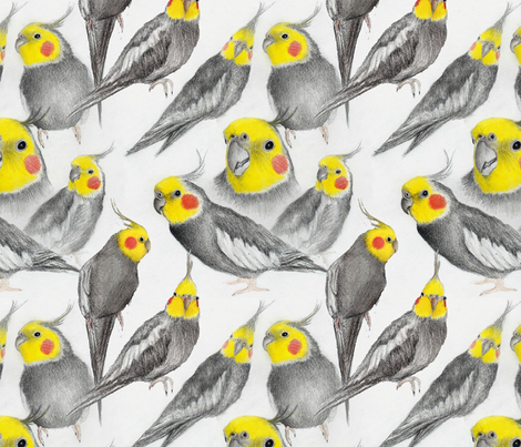 Peaches the Cockatiel fabric by ericaeinorn on Spoonflower - custom fabric